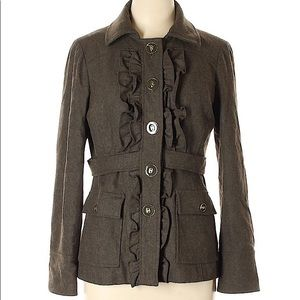 Anthropologie olive green wool ruffle jacket